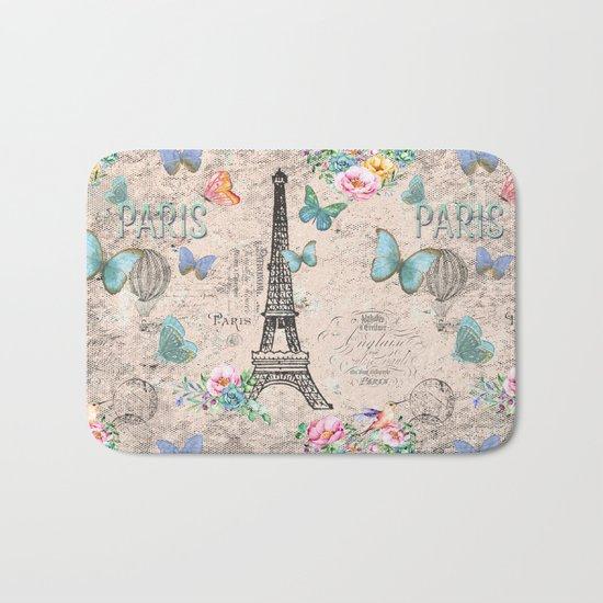 Paris - my love - France Nostalgy- pink French Vintage Bath Mat