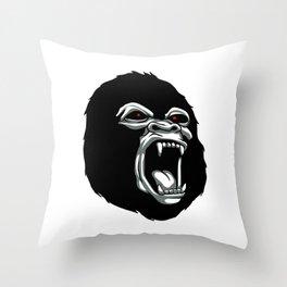 Angry gorilla head. Throw Pillow