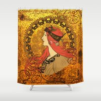 steampunk Shower Curtains featuring Steampunk Nouveau by Nana Leonti