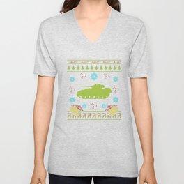 Military Tank Christmas Ugly Sweater Design Shirt Unisex V-Neck
