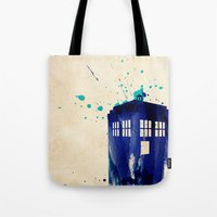 rustic Tote Bags featuring Doctor Who TARDIS Rustic by Art by Colin