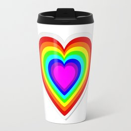 Lbgt rainbow heart Travel Mug