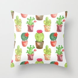 Watercolor prickly cacti in pots Throw Pillow
