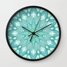 Burst Mandala Turquoise Wall Clock