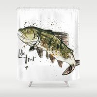 trout Shower Curtains featuring Lake Trout by Mt Zion Press