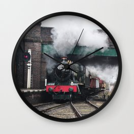 Vintage Steam Railway Train at the Station Wall Clock