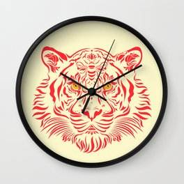 Red Tiger by #Bizzartino Wall Clock