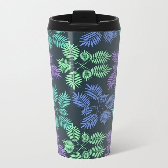 Palm leaves. Metal Travel Mug