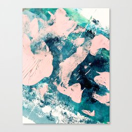 Tenerife: a vibrant abstract in blue, green, and pink Canvas Print