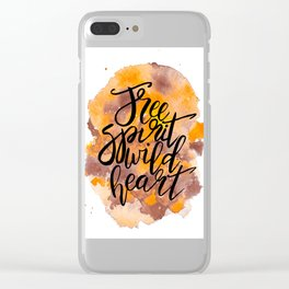 Free Spirit, Wild Heart Watercolour Clear iPhone Case