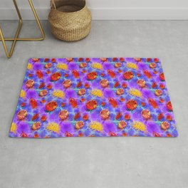 Colourful Australian Native Floral Pattern Rug