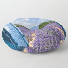 wooden shutters, lavender field Floor Pillow