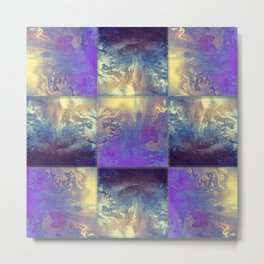 Abstract Silver Stiched canvas Metal Print