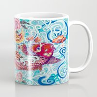 koi fish Mugs featuring Koi Fish by Art by Risa Oram