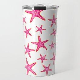 Summer pink neon watercolor gold starfish pattern Travel Mug