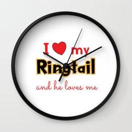 Unique & Funny Ringtail Cat Tshirt Design I Love My Ringtail Wall Clock