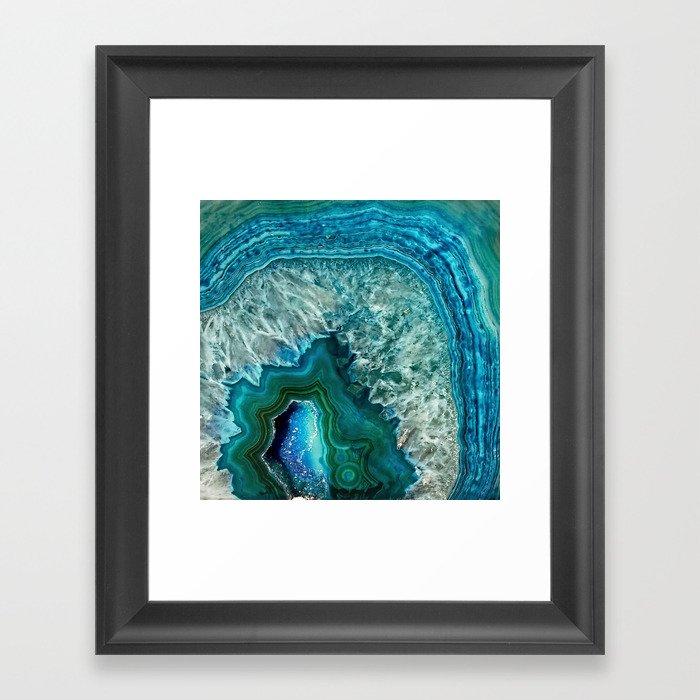 Aqua turquoise agate mineral gem stone Gerahmter Kunstdruck