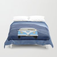 volkswagen Duvet Covers featuring Volkswagen Bus by Aquamarine Studio