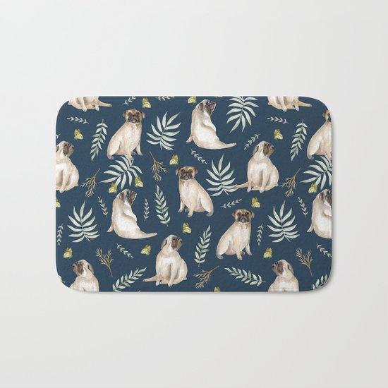 Pugs and butterflies. Blue pattern Bath Mat