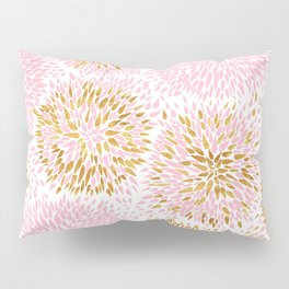Abstract flowers pink and gold Pillow Sham