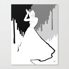 'Back to Black' Fashion Illustration Canvas Print