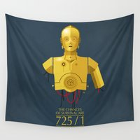 sith Wall Tapestries featuring Never Tell Me The Odds (C3P0) by DWatson