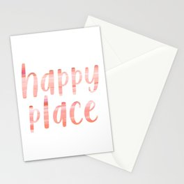 Happy Place | Motivational Coral Blush Painting Colored Typography Stationery Cards