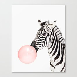 Zebra, Bubble gum, Pink, Animal, Nursery, Minimal, Trendy decor, Interior, Wall art Canvas Print