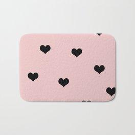 Modern heart pattern in pink and black Bath Mat