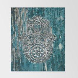 Silver Hamsa Hand On Turquoise Wood Throw Blanket