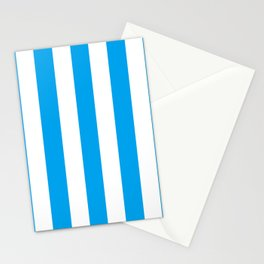 Microsoft blue - solid color - white vertical lines pattern Stationery Cards