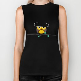 Clear night with a cute owl on a tree branch Biker Tank