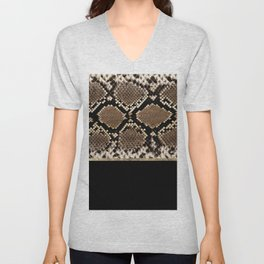Modern black brown gold snake skin animal print Unisex V-Neck