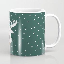 Reindeer in a snowy day (green) Coffee Mug