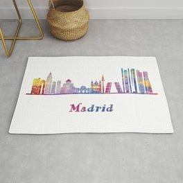 Madrid landmarks in watercolor Rug