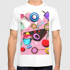 Delicious Pink Dessert White MEDIUM Mens Fitted Tee