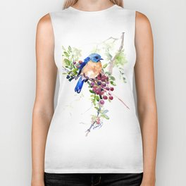 Bluebird and Berries Biker Tank