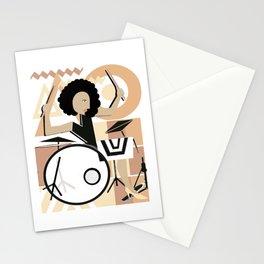 Bateria Baterista Mujer Morena Cubismo Musica Stationery Cards