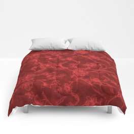 Flower Pattern (Red version) Comforters