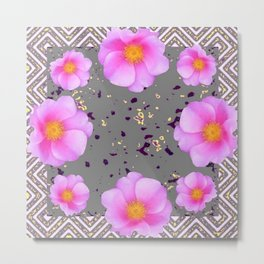 Fuchsia Pink Roses on Grey Color Pattern Floral Art, Metal Print