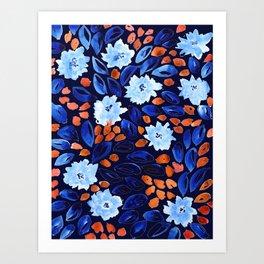 Navy Cornflowers Art Print