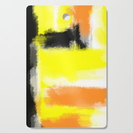 orange yellow and black painting abstract with white background Cutting Board