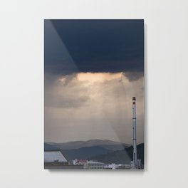 Storm and rain over residential area of Ljubljana. Metal Print