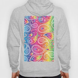 Beautiful Pattern of Paisley Art, Flowers, Doodles - Spectrum and White Hoody