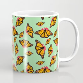 Orange Monarch Butterfly Pattern Coffee Mug