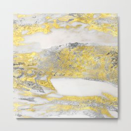 Silver and Gold Marble Design Metal Print