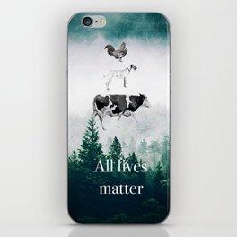 All lives matter go vegan iPhone Skin