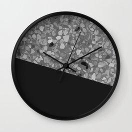 Terrazzo Texture Grey Black #7 Wall Clock