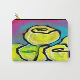 Colorful Yellow Rose Flowers with Purple Blue and Green Carry-All Pouch