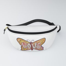 Love Pink Butterfly Fanny Pack